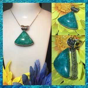Tibetan Turquoise Vintage Stamped Native Pendant